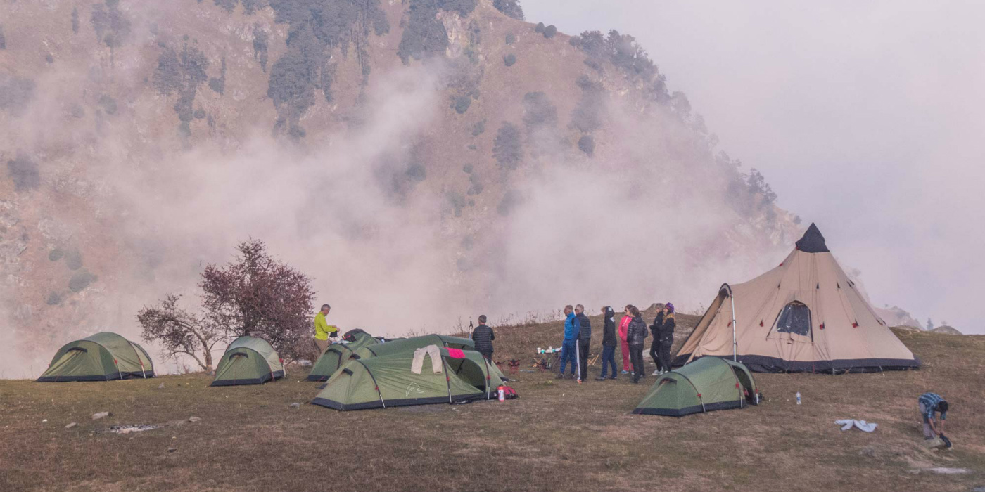 A camp set up by Himalayan Ecotourism on one of their treks